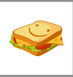Sandwich with cheese tomato and salad street vector