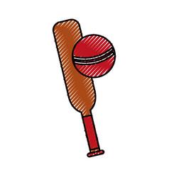 Scribble cricket ball and bat cartoon vector