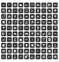 100 dispatcher icons set black vector image