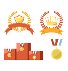 Gold trophy medals and emblems isolated vector