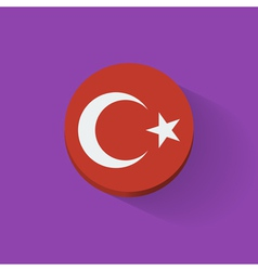 Round icon with flag of turkey vector