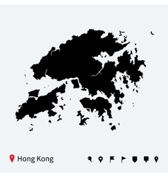 High detailed map of hong kong with navigation vector