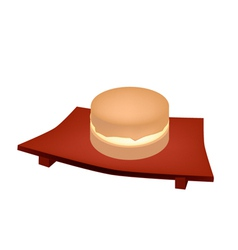 Imagawayaki red bean pancake on geta plate vector