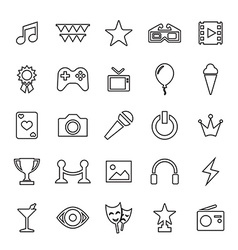 25 outline universal entertainment icons vector