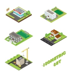 Isometric buildings icons set vector