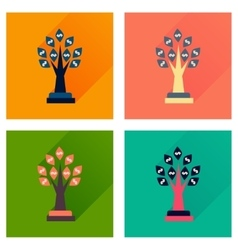 Concept flat icons with long shadow money tree vector