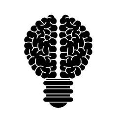 Brain bulb inspiration creativity silhouette vector