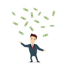 Cartoon man chasing money - vector