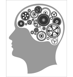 Concept of thinking mind works the creation of vector