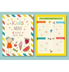 Cute colorful kids meal menu template vector