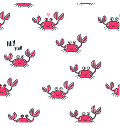 Cute emotional crabs seamless pattern vector