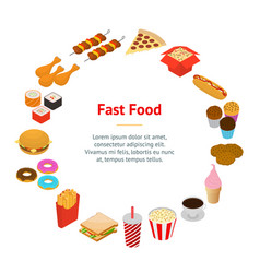 fast food banner card circle isometric view vector image