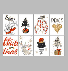 hand drawn merry christmas greeting card vector image