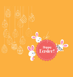 hanging easter eggs ornament with bunny card vector image vector image