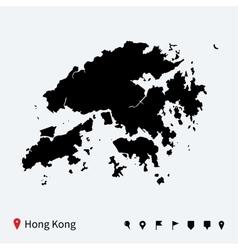 High detailed map of hong kong with navigation vector
