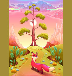 landscape in the sunset with fox vector image