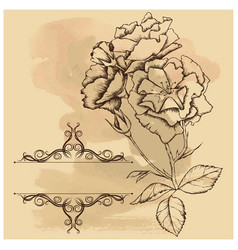 Old background with frame and flowers vector