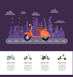 Old style moped on road poster in flat style vector