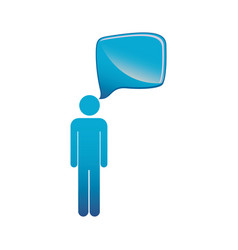 pictogram blue male figure with square dialog box vector image