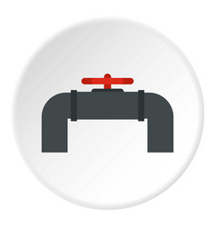 Pipeline with valve and handwheel icon circle vector