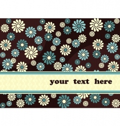 retro banner with blue flowers vector image vector image