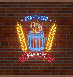 Retro neon beer bar sign on brick wall background vector