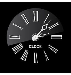 Retro White Abstract Clock on Black Background vector image