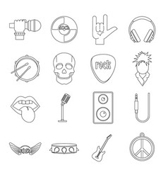 Rock music icons set outline style vector