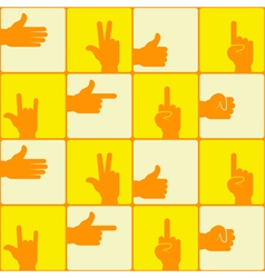 Seamless background with hands and finger icons vector image vector image