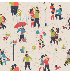 seamless pattern couple in love vector image