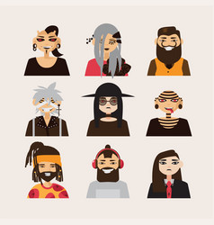 set with male subcultural characters rasta vector image vector image