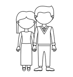 Sketch silhouette faceless couple woman with short vector
