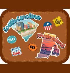 south carolina rhode island travel stickers vector image