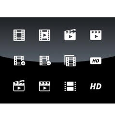 Video icons on black background vector image