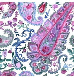 Watercolor paisley seamless background vector