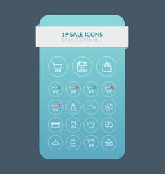 Web line sale icons set vector