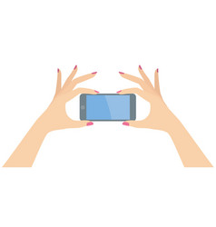 woman hands holding smart phone horizontally vector image vector image