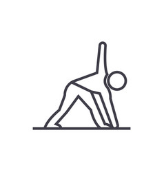 yoga man line icon sign on vector image