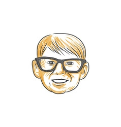 Caucasian Boy Glasses Head Smiling Drawing vector image