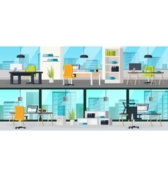 Office Interior Horizontal Banners vector image