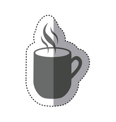 Sticker monochrome silhouette mug coffee with vector