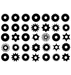 Different gear shapes vector