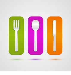 Colorful cutlery icon vector