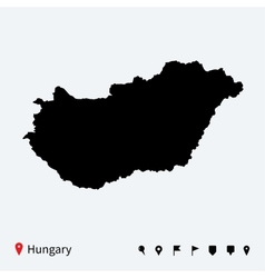 High detailed map of hungary with navigation pins vector