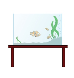 Aquarium on the table with exotic fish vector