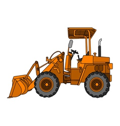 Yellow wheeled tractor vector