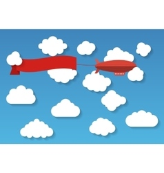 Airship in the cloudy sky flat vector