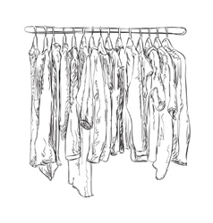 Wardrobe sketch clothes shop vector