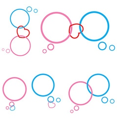 Set of pink and blue bubble chat and heart vector