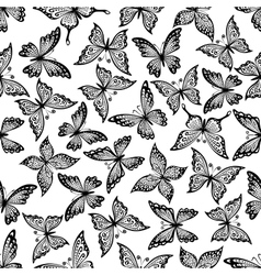 Vintage ornamental butterflies seamless pattern vector